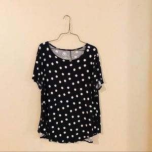 Black and White Polka Dot Knit Top